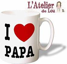 Ich liebe Papa (I heart Papa) Keramik Kaffeetasse mug Kaffeebecher - Originelle Geschenkidee - Spülmachinenfes