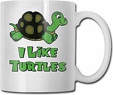 Ich mag Schildkröten Mode Kaffeetasse Porzellan