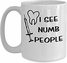 Ich sehe taub Menschen lustige Zahnarzt Mug - 11oz