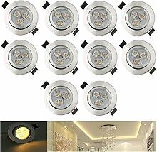 ICOCO 10x LED Einbaustrahler Warmweiß LED Spots Einbauleuchte Deckenspots Einbauspots für Badezimmer Wohnzimmer Decken Spot Einbau Strahler Set 3w Warmweiß 85-265V (Silber)