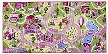 ID matt 95200City Candy Teppich-Spiele Karten Faser Polyamid/Gel Latex Rosa 200x 95x 0,5cm