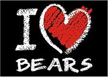 Idakoos I love Bears chalk style - Tiere -