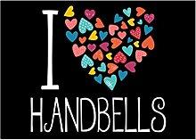 Idakoos I love Handbells colorful hearts -