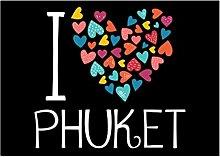 Idakoos I love Phuket colorful hearts -