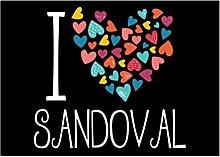 Idakoos I love Sandoval colorful hearts -