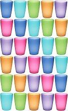 idea-station NEO Kunststoff-Becher mehrweg 250 ml 30 Stück, bunt, farbig, stapelbar auch als Wasser-Gläser, Cocktail-Gläser einsetzbar, Party-Becher, Plastik-Becher sind bruchsicher