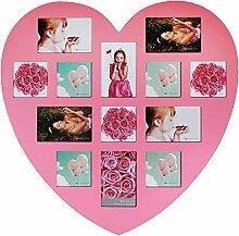 Ideal Herz Bilderrahmen Pink für 13 Fotos Bilder