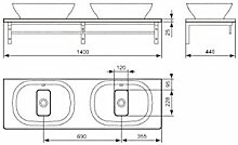 Ideal Standard SoftMood Waschtischplatte für Schale weiß hochglanz - T7816WG