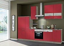 idealShopping Küchenblock Imola ohne Elektrogeräte in rot glänzend 300 cm brei