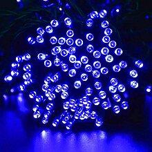 Ideapro Wasserfest Solar LED Lichterkette, 12M led lichterkette 100 leds, Blau Licht Lampe, IP65 Solarleuchte, solarleuchten Außenleuchte für Garten Weihnachten