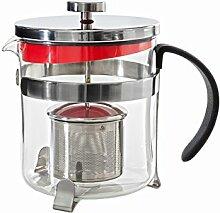 Idelice PR302 855A Abtropfgitter mit Teekanne, Glas/Edelstahl, 1 L