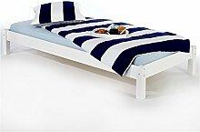 IDIMEX Futonbett Bett Einzelbett Massivholzbett TAIFUN,Kiefer, weiß lackiert, 100 x 200 cm