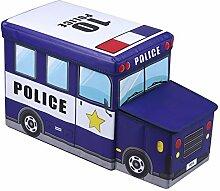 IDIMEX Sitzhocker Spielzeugtruhe Polizei in Blau