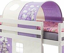 IDIMEX Tunnel PRINZESSIN zu Hochbett Spielbett Rutschbett Kinderbett in lila/weiß