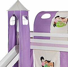 IDIMEX Turm Pony zu Bett mit Rutsche, Spielbett, Rutschbett, Kinderbett, Hochbett in Lila/Beige Pferdemotiv