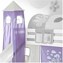 IDIMEX Turm Spielturm PRINZESSIN zu Hochbett Spielbett Kinderbett Rutschbe
