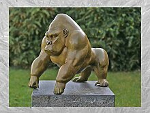IDYL Bronze-Skulptur Gorilla grüne heiße Patina