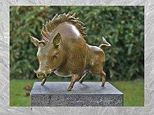 IDYL Bronze-Skulptur Wildschwein grüne heiße