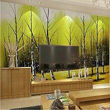 Idyllische Tapete gemalt Birkenwald Fototapete 3D
