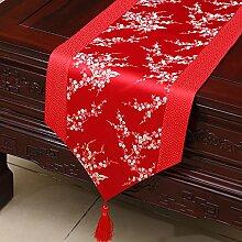 Idyllische Tischläufer Tischdecke Tee Tischdecke Bett Läufer Schrank Läufer Tischset Lange Tischdecke Europäischen TV Schrank Abdeckung Handtuch (Farbe : Rot, größe : 33*200cm)