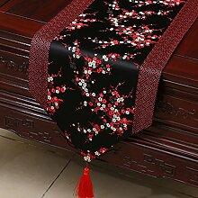 Idyllische Tischläufer Tischdecke Tee Tischdecke Bett Läufer Schrank Läufer Tischset Lange Tischdecke Europäischen TV Schrank Abdeckung Handtuch (Farbe : Schwarz und Rot, größe : 33*200cm)
