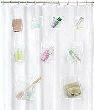 idystore Duschvorhang mit 9 Quick Dry Mesh Taschen