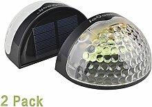 ieGeek Outdoor halbkreis Solarlampe Solarleuchte ABS Leitplanke 6 LED-Lichte Dämmerungsschalter / Sicherheit IP65 wasserdichte drahtlose für Zaun / Wand im Garten (2 Stücke, Schwarz)