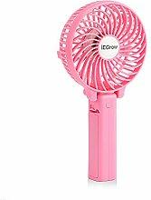 iEGrow USB Ventilator Leise Mini Handventilator Ventilatoren Lüfter mit Batterie Farbe Pink
