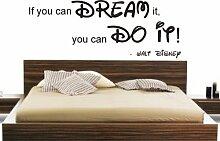 If you can dream it you can do it Disney Zitat Wand Aufkleber DIY Home Kinder, Vinyl, Türkis, 90x40cm