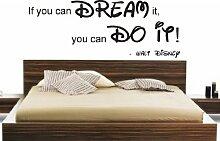 If you can dream it you can do it Disney Zitat Wand Aufkleber DIY Home Kinder, Vinyl, schwarz, 120x60cm