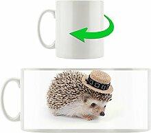 Igel mit Hut, Motivtasse aus weißem Keramik 300ml, Tolle Geschenkidee zu jedem Anlass. Ihr neuer Lieblingsbecher für Kaffe, Tee und Heißgetränke.