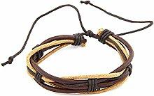 Igemy 1 PC Frauen Männer Wristband Multilayer Leder Kette Charms Armband Handgelenk Geschenk (Braun)