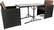 IHD Rattan Balkonmöbel Set mit Tisch und 2