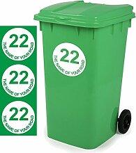Ihre persönlichen Mülltonnen-Aufkleber D2, 18x18cm im 3er-Pack