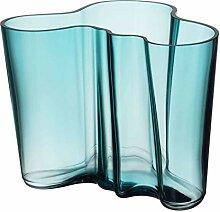 Iittala Alvar Aalto Vase, Glas, Seeblau, 160 mm
