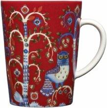 Iittala - Taika - Becher mit Henkel / Henkelbecher / Kaffeetasse - rot - Porzellan - 0,4l