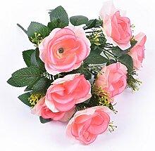 IIWOJ 2ST Künstliche Blumen Rosen Gefälschte Blumen Hochzeit Urlaub Dekoration,Pink