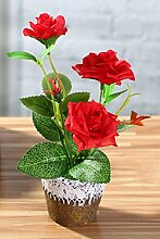 IIWOJ Künstliche Blume Mini Rose Bonsai Pflanze