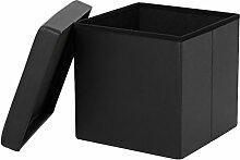 iKayaa 38cm Cube Faltbarer Sitzhocker Aufbewahrungsbox Sitzwürfel mit Stauraum aus PU Leder