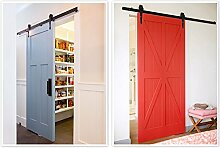 iKayaa 7FT Schiebetürbeschlag Schiebetürsystem Tür-Hardware-Kit aus Stahl für Schiebetüren Innentüren