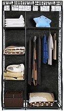 iKayaa Faltschrank Stoffschrank Kleiderschrank mit Kleiderstange 160 x 90 x 45cm Rastermuster