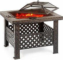 iKayaa Feuerstelle Feuerschale Terrassenofen mit