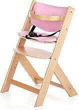 iKayaa Hochstuhl Treppenhochstuhl Kinderhochstuhl Mitwachsender Hochstuhl aus Holz mit Sitzverkleinerer