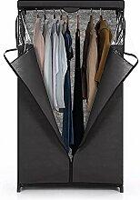 iKayaa Stoffschrank Faltschrank Kleiderschrank mit Kleiderstange 162 x 91.5 x 50cm