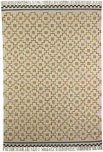 IKEA ALVINE RUTA -Teppich Flachgewebe weiß / gelb - 170x240 cm