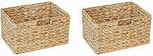 Ikea Billy Regal Korb 36 x 26 x 20 cm aus Wasserhyazinthe Natur Faltkorb Flechtkorb Regalbox Storage Box Aufbewahrungskorb Schrankkorb klappbar faltbar und sehr stabil 2er-Set Sparpreis