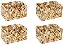 Ikea Billy Regal Korb 36 x 26 x 20 cm aus Wasserhyazinthe Natur Faltkorb Flechtkorb Regalbox Storage Box Aufbewahrungskorb Schrankkorb klappbar faltbar und sehr stabil 4er-Set Sparpreis