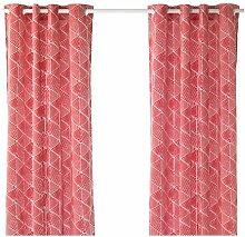 Ikea Gardinen 1 Paar rot/weiß 428.11522.62