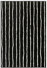 IKEA GÖRLÖSE Kurzflor Teppich in schwarz/weiß;