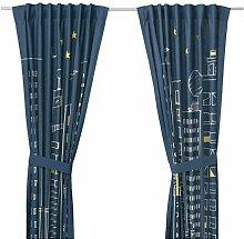 IKEA HEMMAHOS 2 Gardinen + Raffhalter in